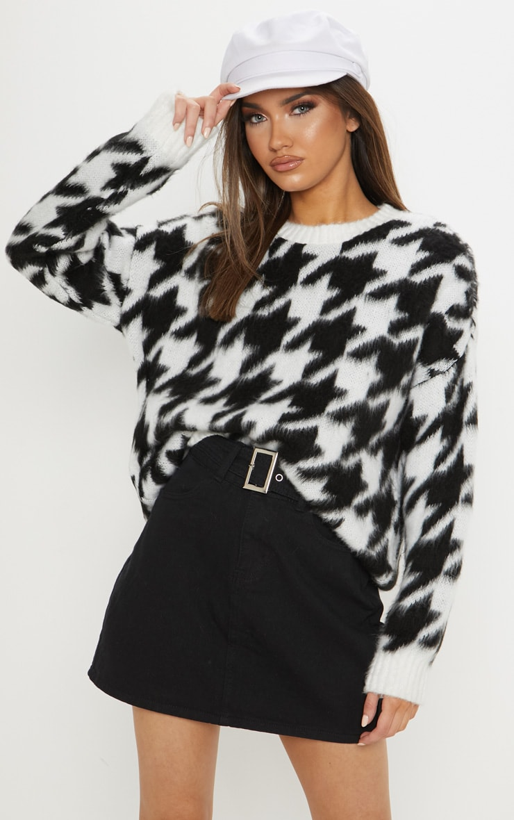 Black Brushed Houndstooth Knitted Jumper  1