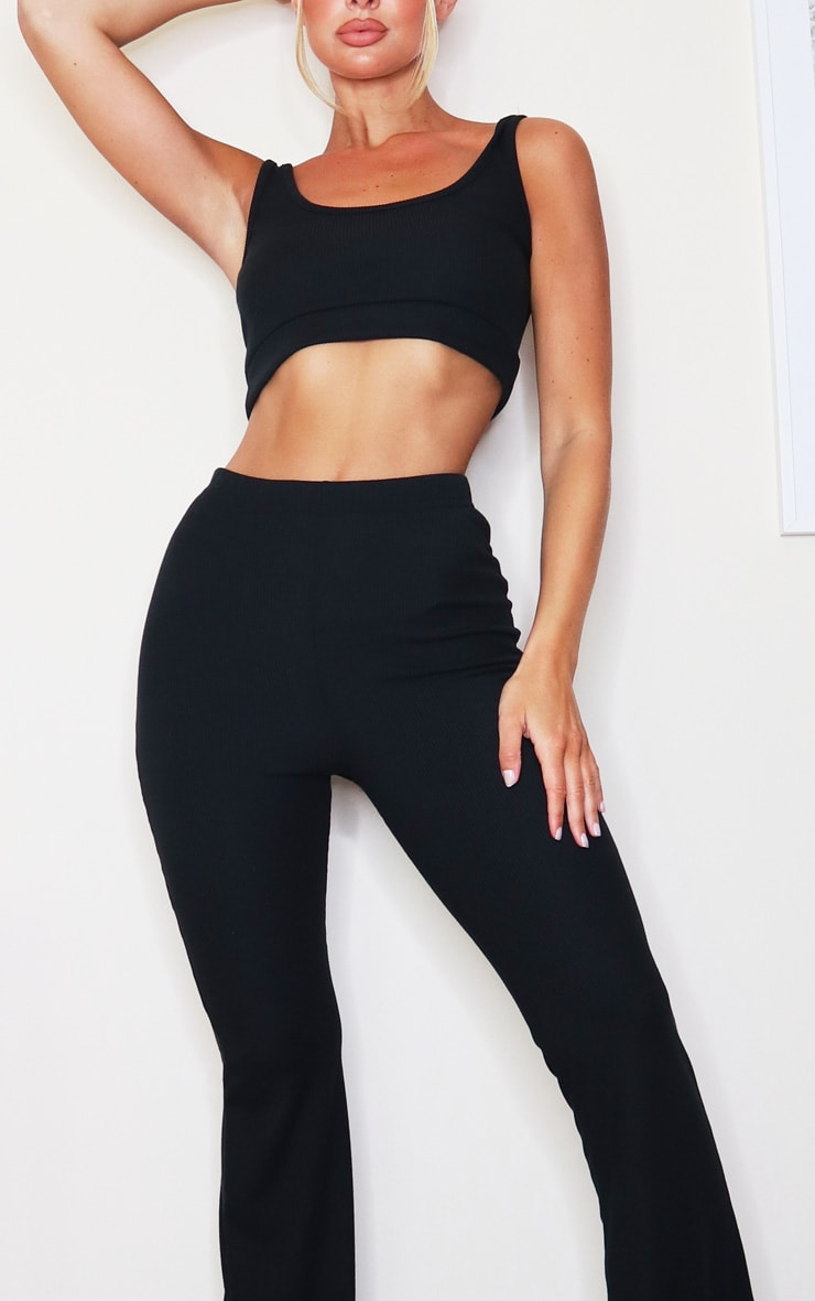 Black Soft Rib Scoop Bralette And Flared Trouser Lounge Set 4