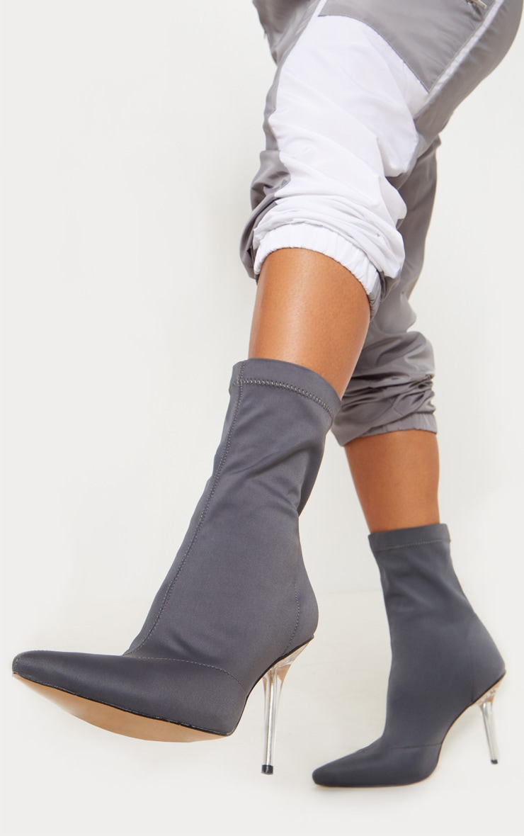 Charcoal Grey Clear Heel Sock Boot  1