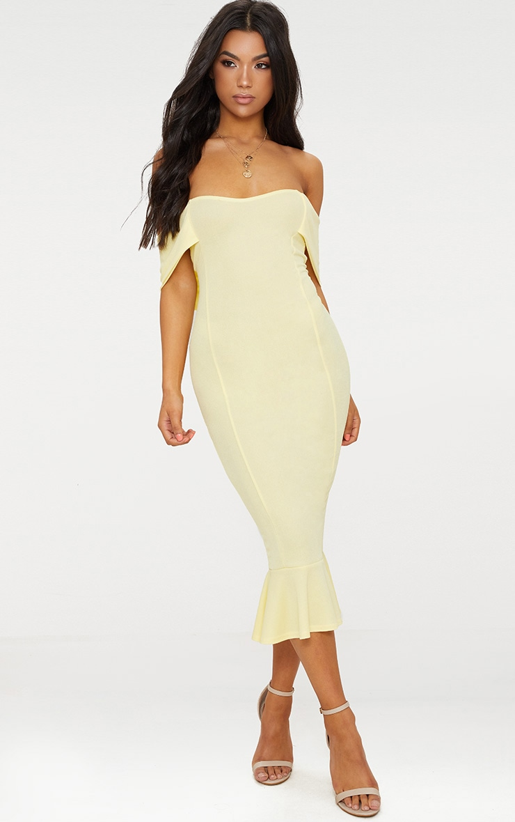 Lemon Bardot Frill Hem Midi Dress 1