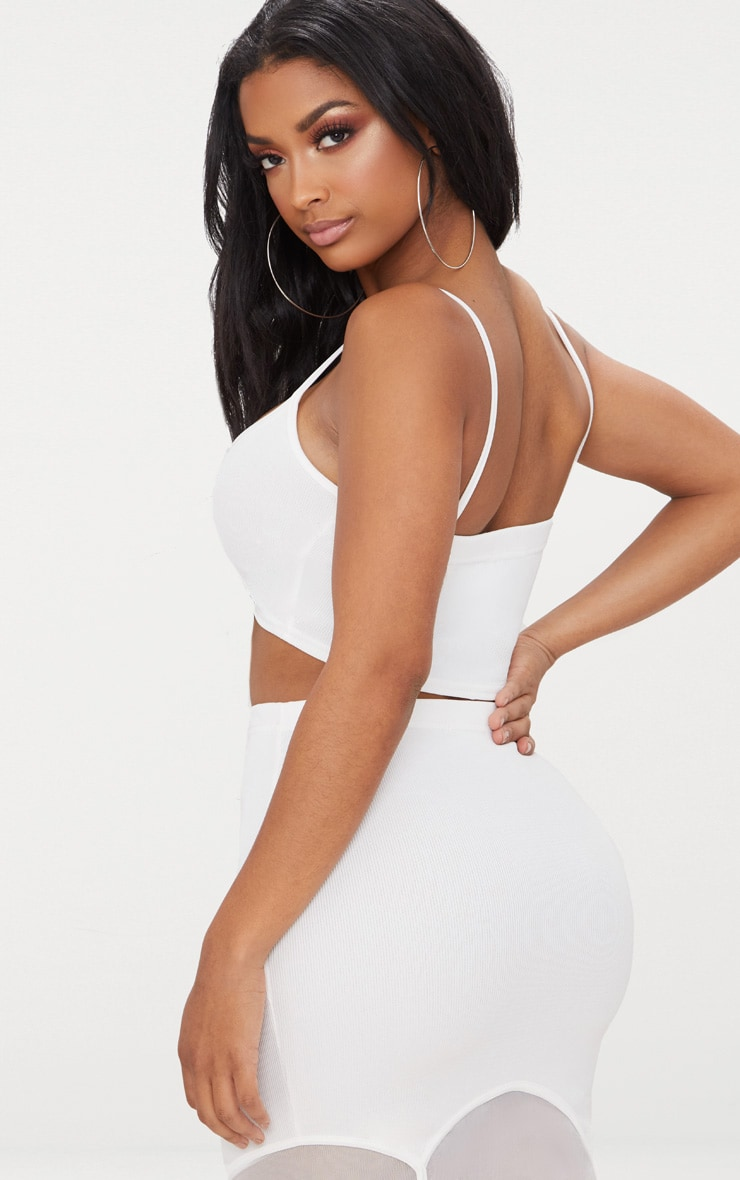 Shape White Ribbed Bandage Strappy Crop Top 2