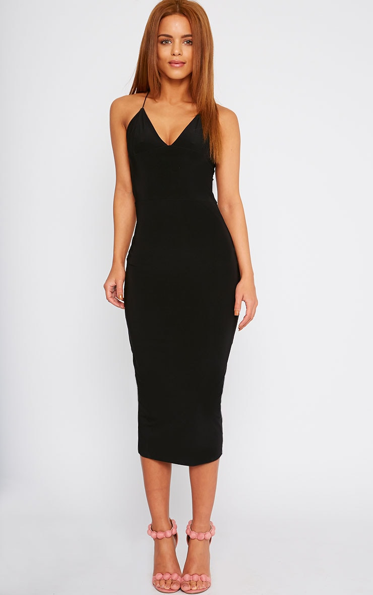 Deanna Black Slinky Cross Back Midi Dress 4