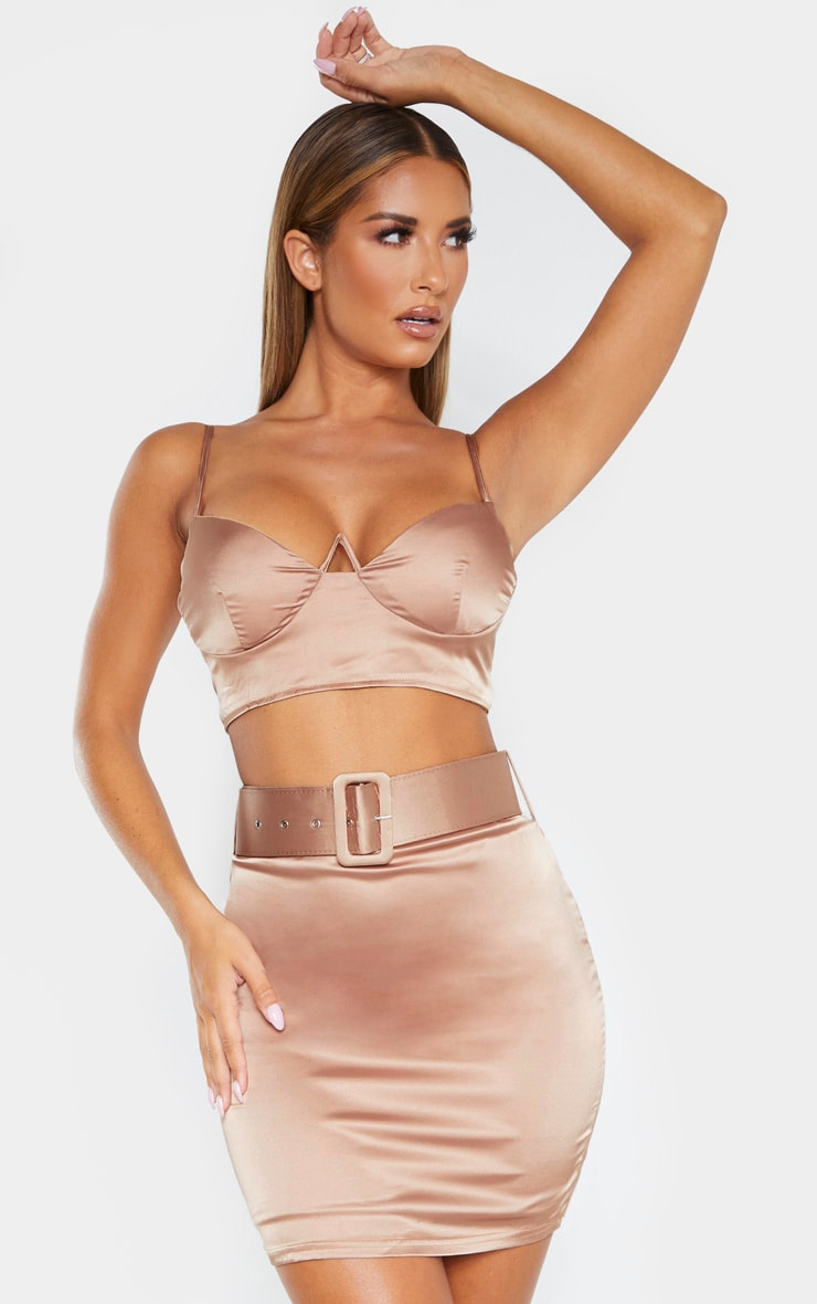Champagne Satin Belt Detail Mini Skirt 1