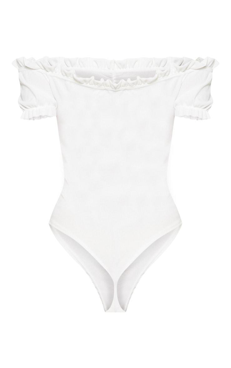 White Rib Puff Sleeve Bardot Bodysuit 3