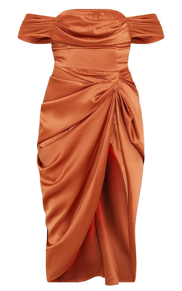 Copper Satin Draped Bardot Midi Dress 5