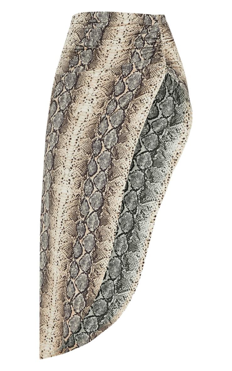 Stone Snake Print Ruched Side Split Maxi Skirt 4