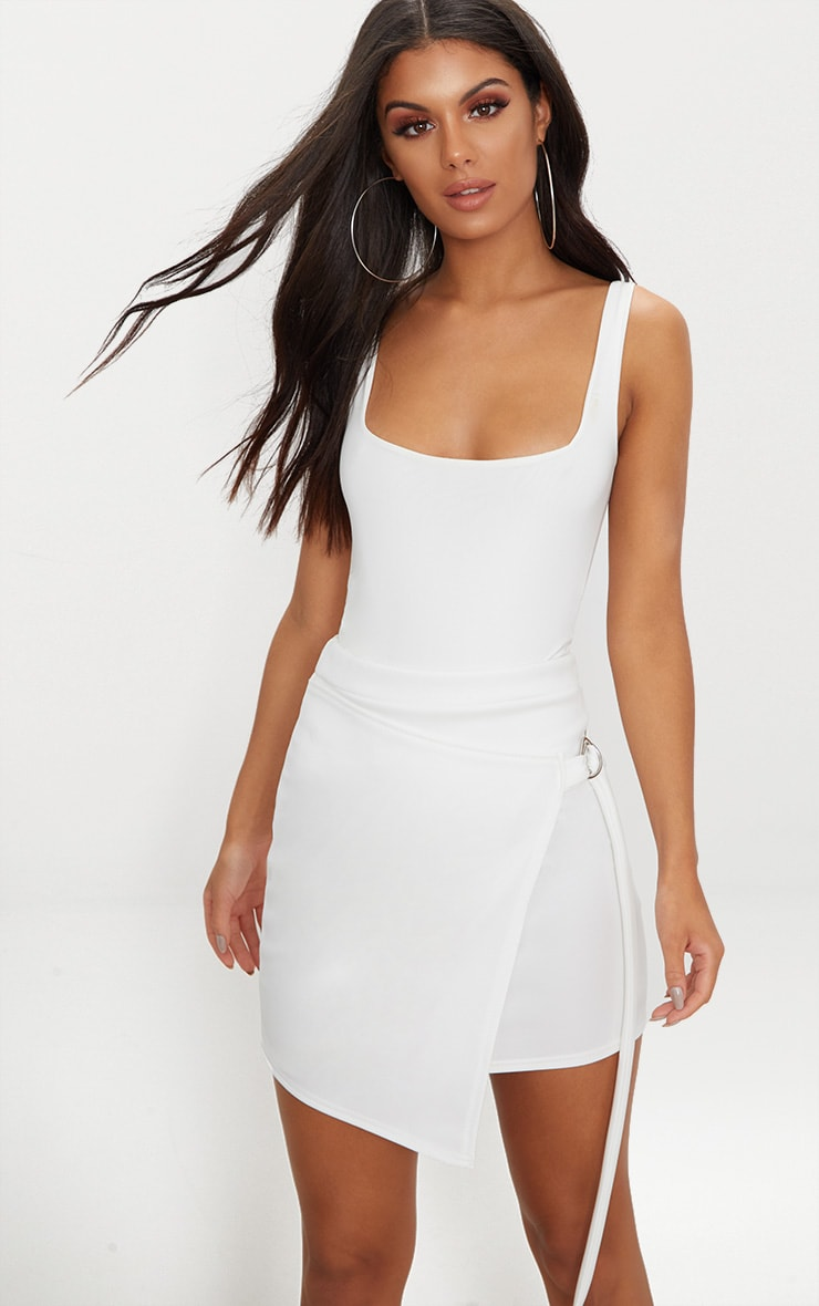 White Scuba D Ring Wrap Skirt 1