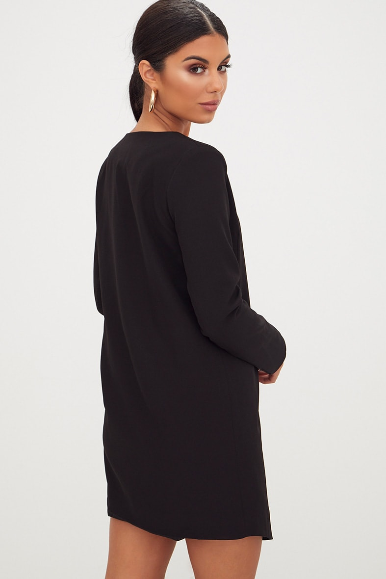 Black Oversized Asymmetric Hem Blazer Dress Pretty Little Thing X07XF