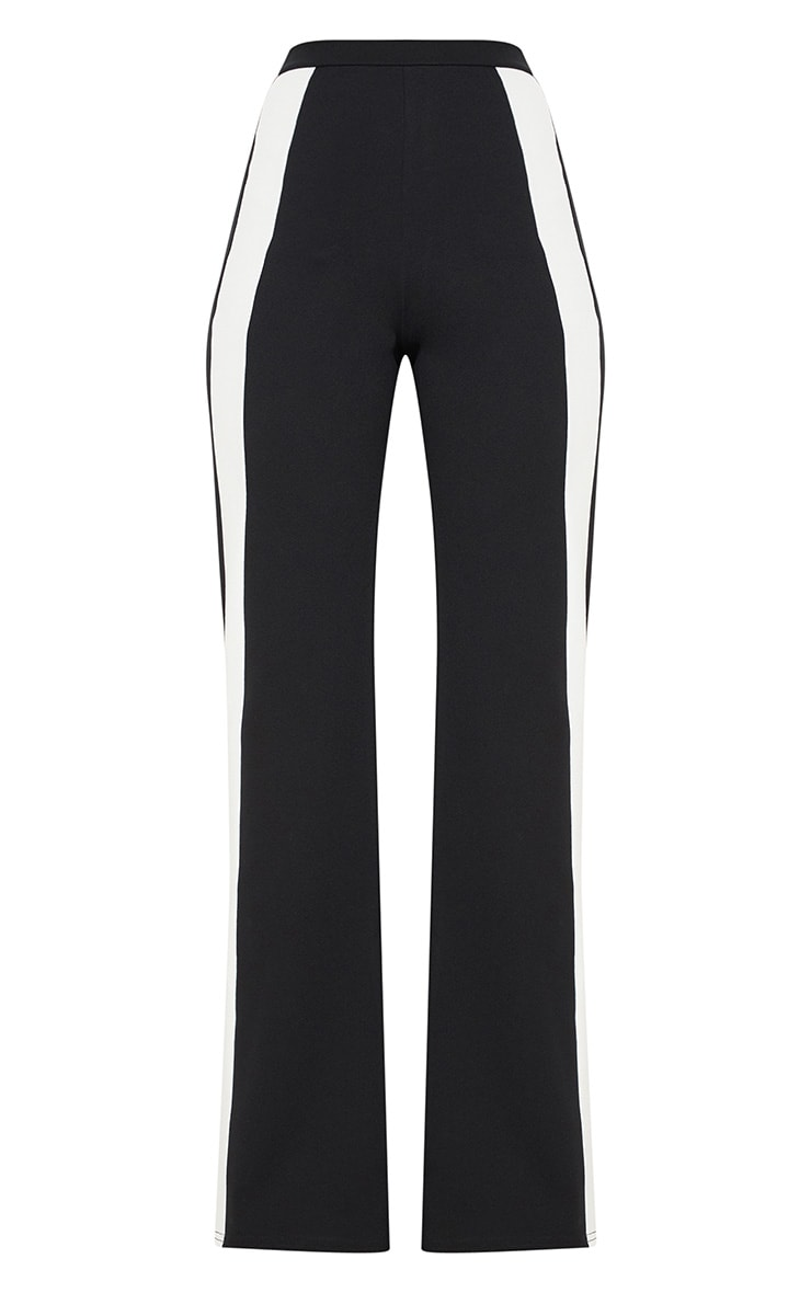 Monochrome Contrast Panel Wide Leg Trousers 3