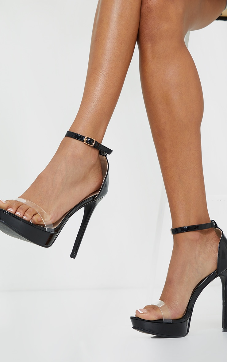 Black Clear Strap Platform Heeled Sandals 1
