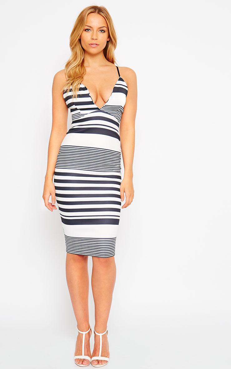 Nada Stripe Plunge Cross Back Midi Dress 3