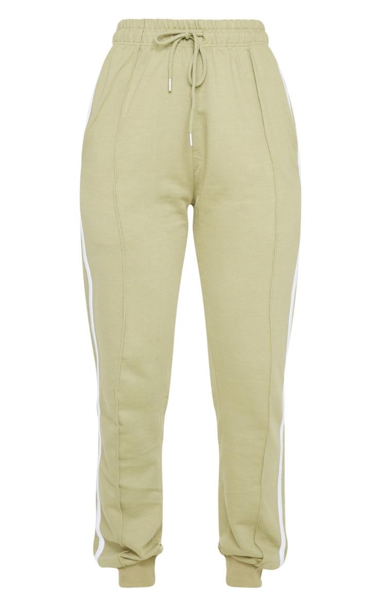 Sage Green Double Stripe Side Skinny Joggers 5
