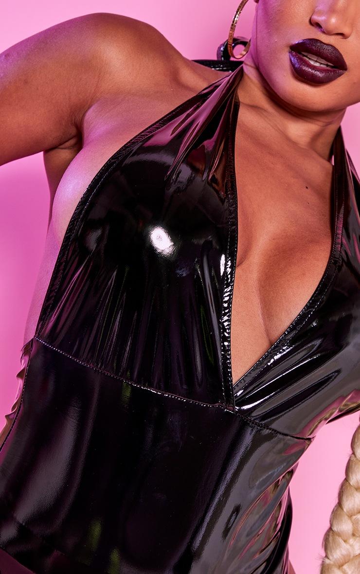 Shape Black Vinyl Halterneck Plunge Bodysuit 4