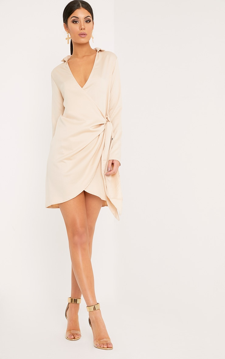 Shaylene Champagne Tie Side Satin Shirt Dress 4