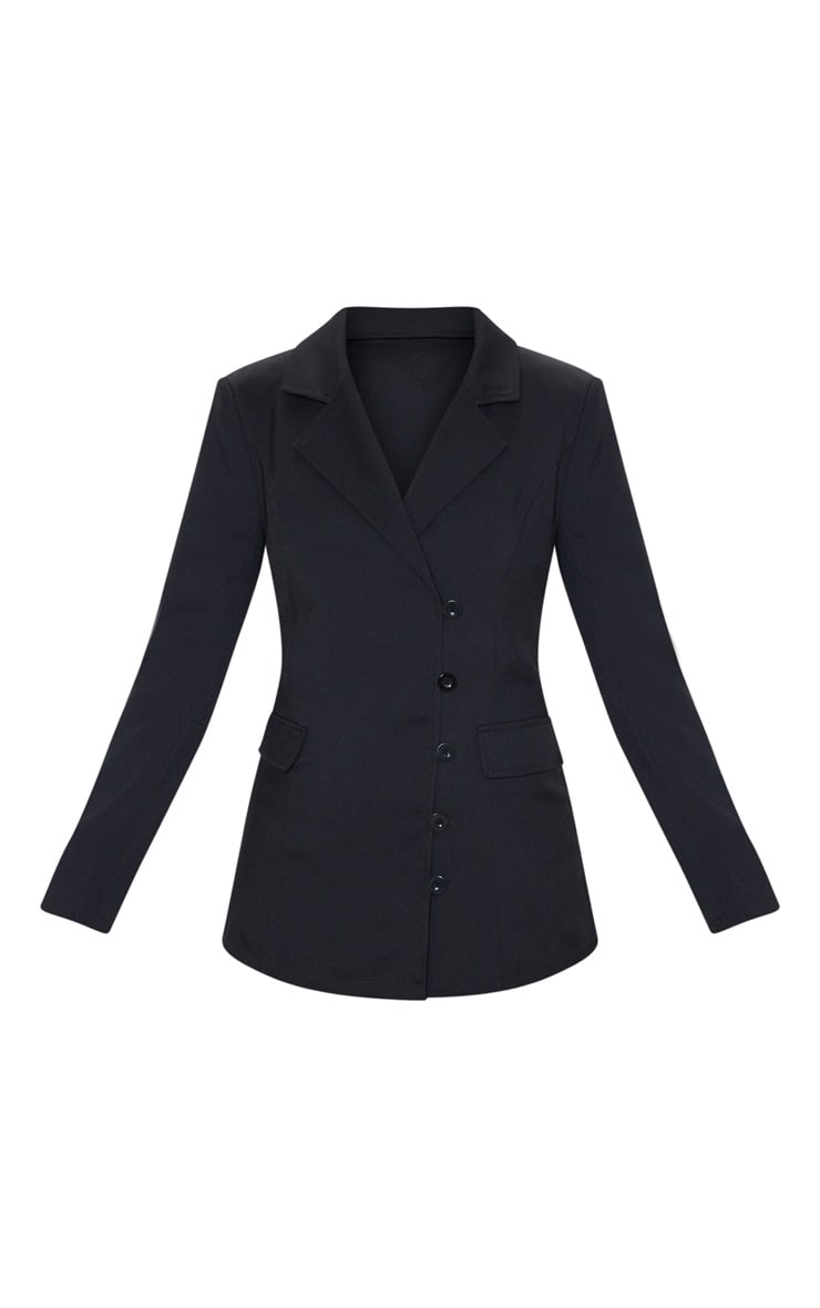 Black Button Detail Fitted Blazer 3
