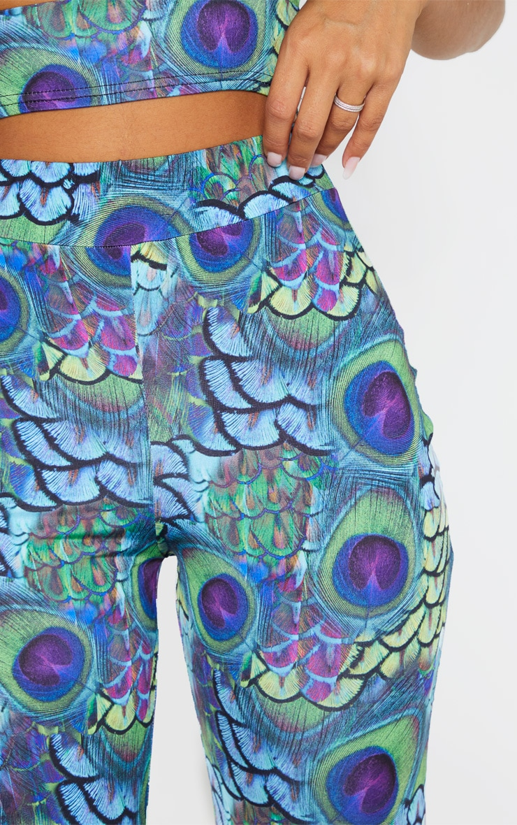 Multi Peacock Print Wide Leg Pants 6