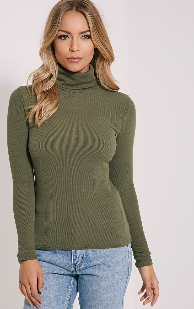 Khaki Roll Neck Top 1