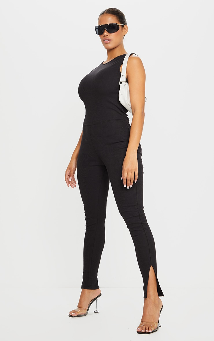 Shape Black Thick Rib Scoop Back Sleeveless Jumpsuit 1