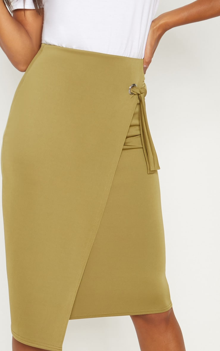 Sage Green Eyelet Detail Wrap Pencil Skirt 5