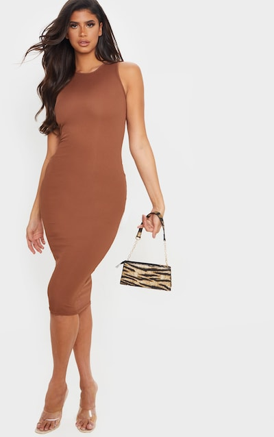 Chocolate Brown Ribbed Midi Dress
