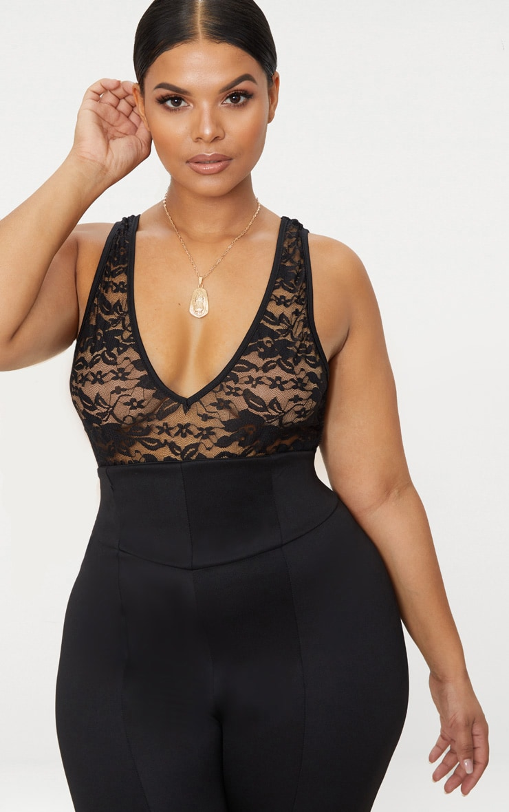 Plus Black Sheer Lace Plunge Bodysuit 1