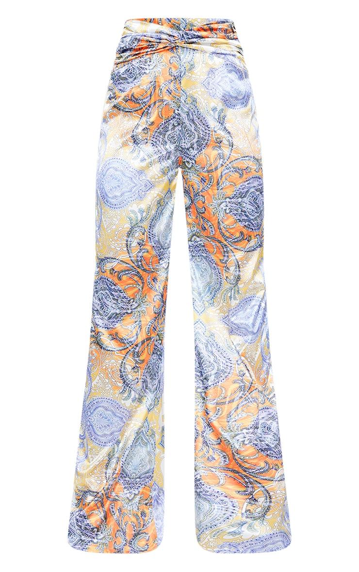 Multi Paisley Printed Satin Ruched Waist Wide Leg Pants 5