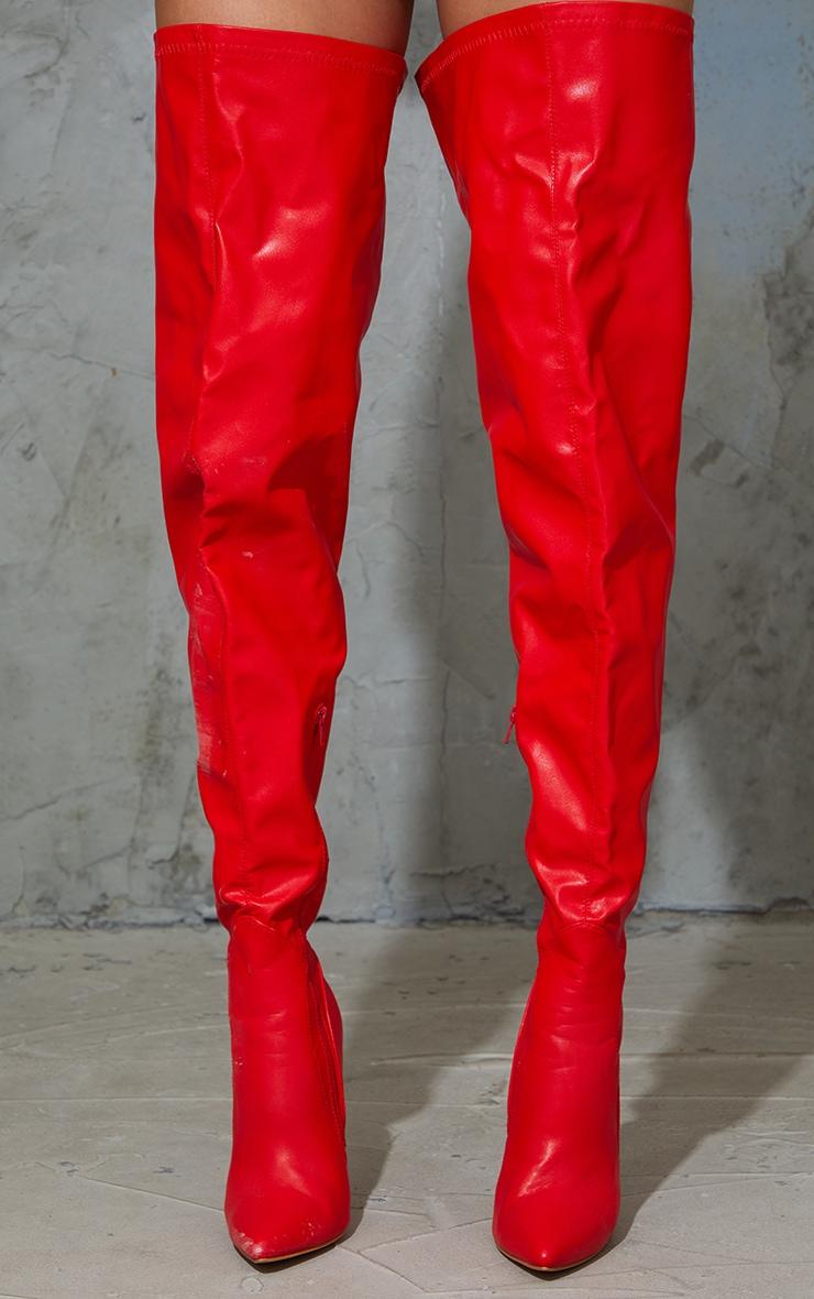 Red Matte PU High Heeled Sock Boots 3