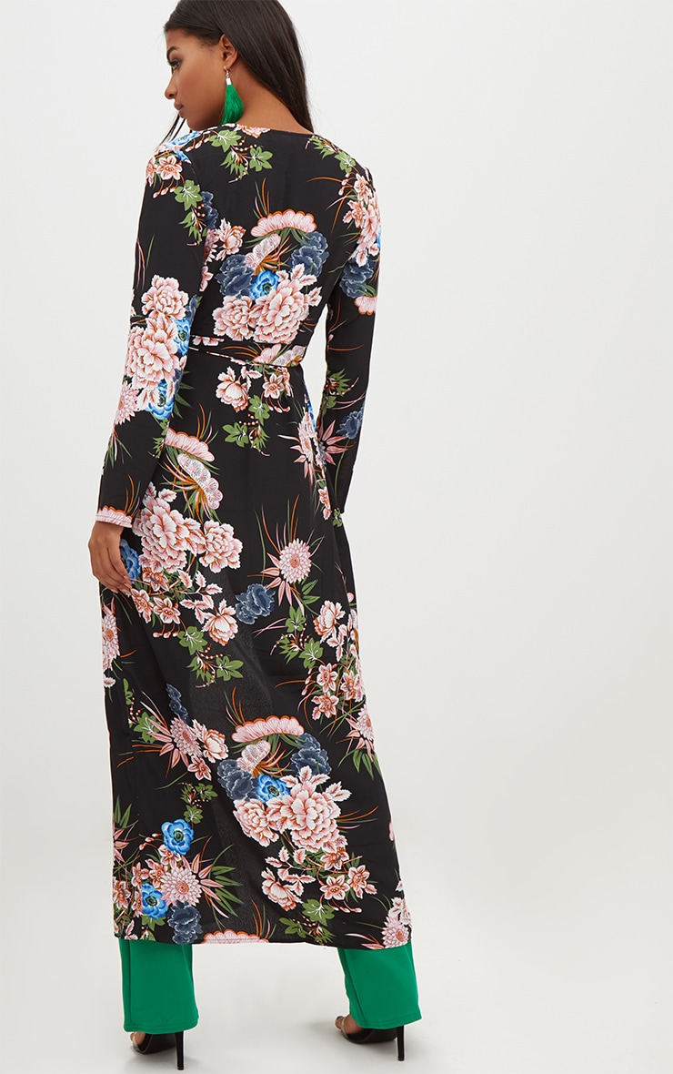 Black Floral Maxi Duster 2