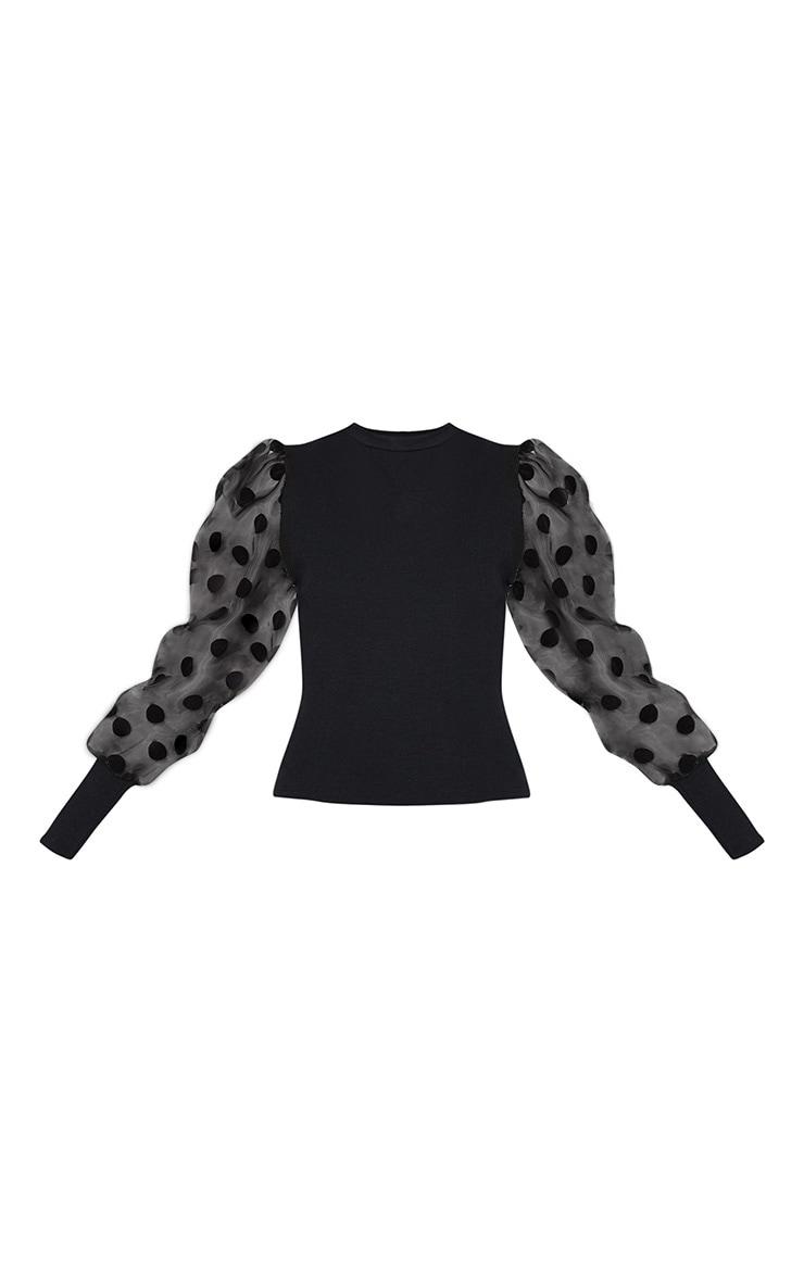 Black Polka Dot Organza Sleeve Top 3