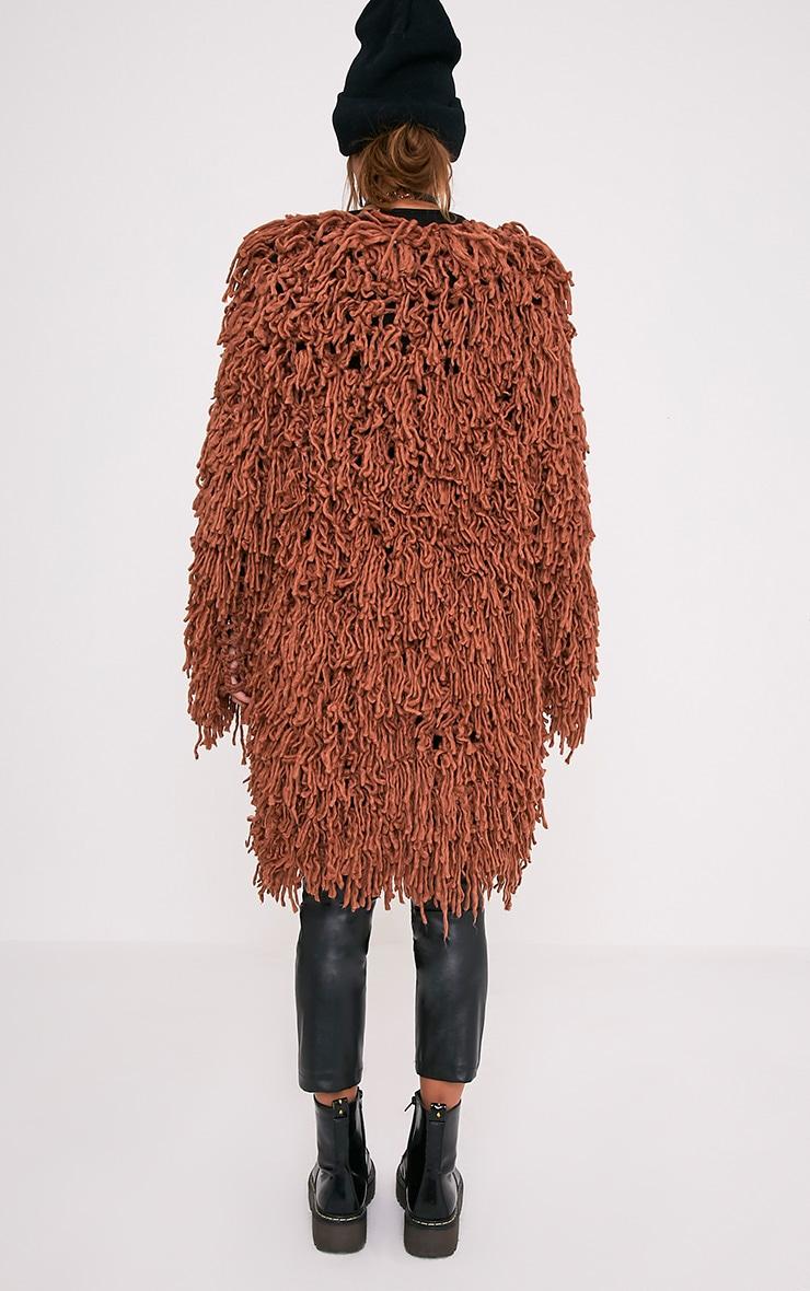 Aslina Cinnamon Shaggy Knit 3/4 Length Cardigan 2