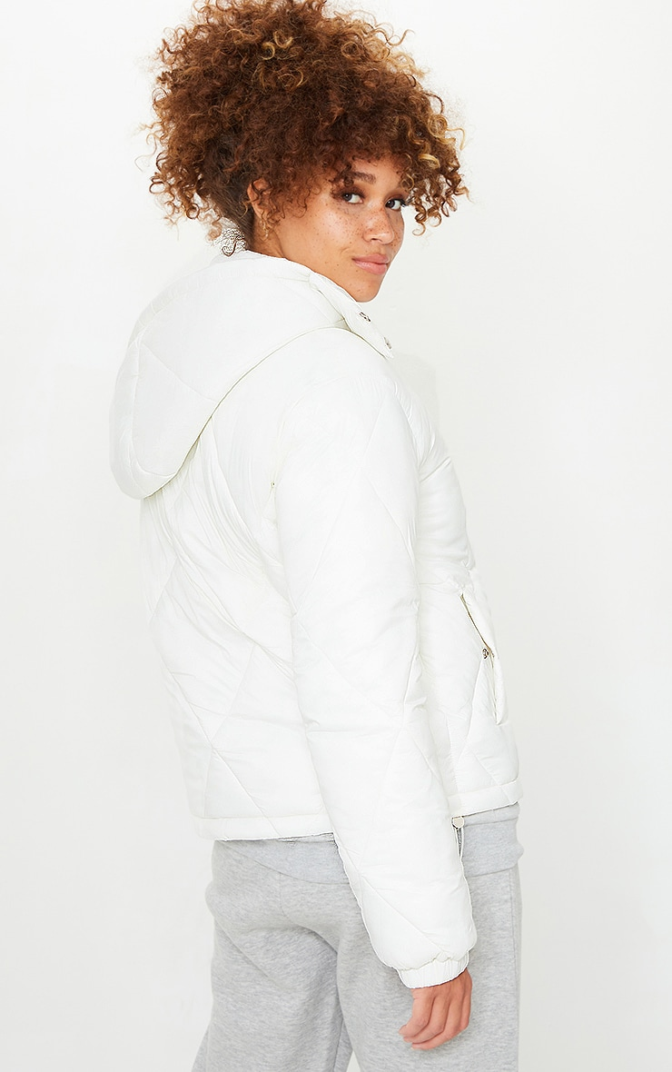 White Nylon Diamond Quilted Hooded Puffer Jacket 2