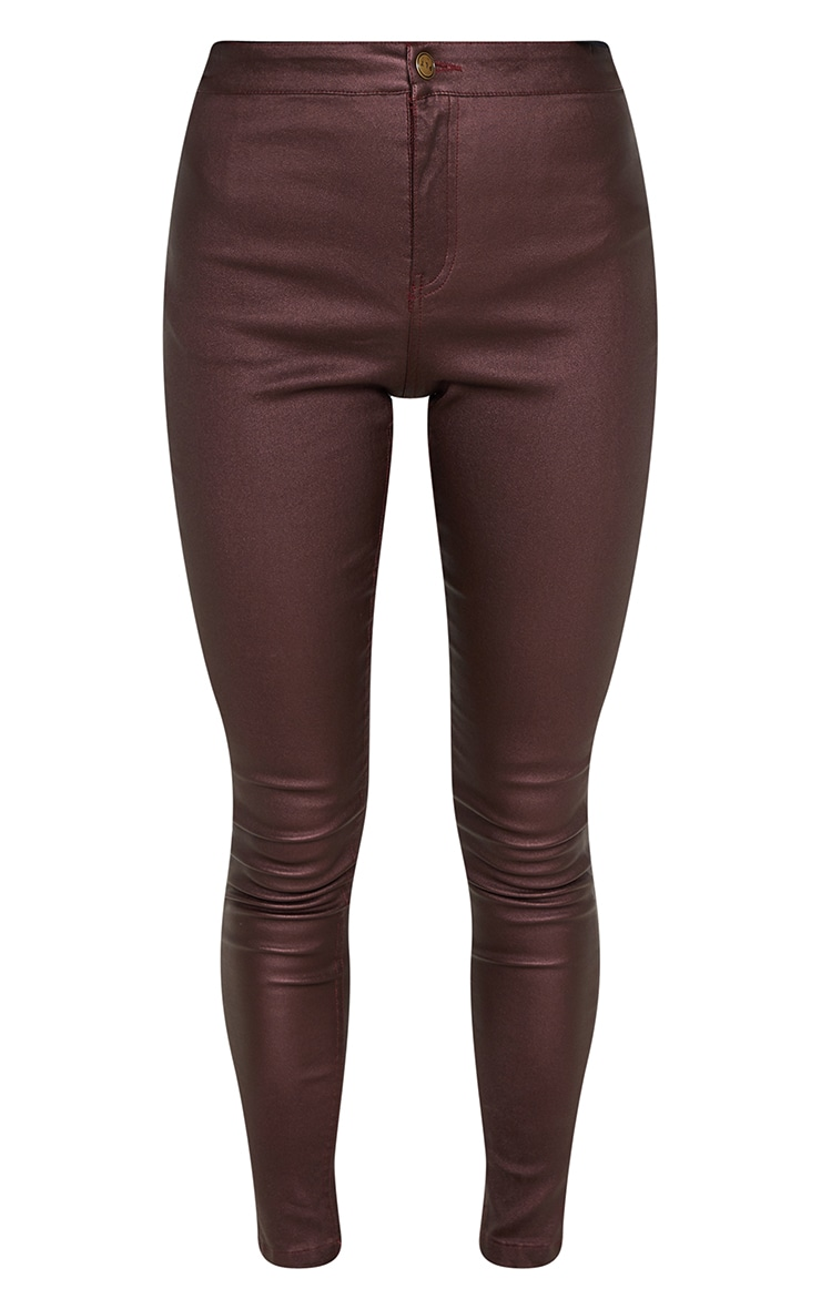 Burgundy Coated Denim Skinny Jeans  3