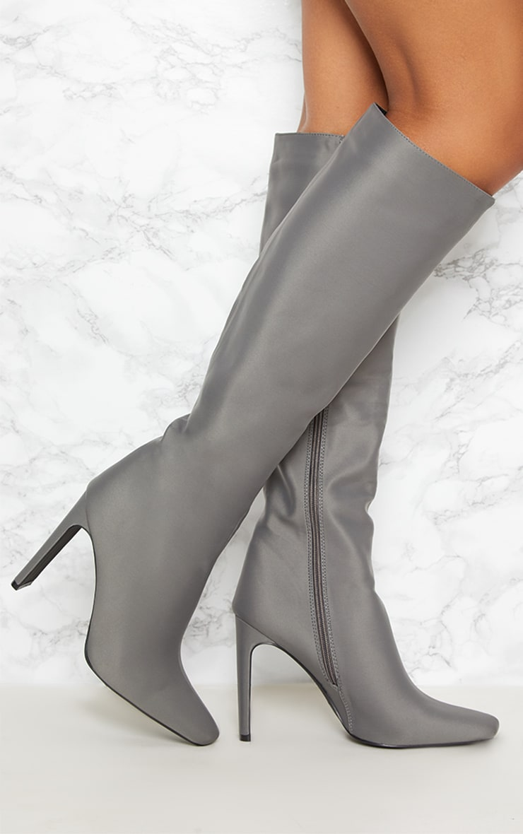 Charcoal Grey Knee High Flat Heel Boot 1