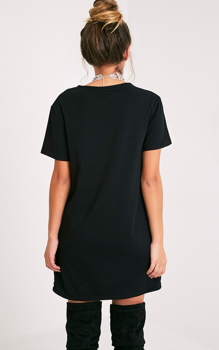 Stay Weird Black Print T-Shirt Dress 2
