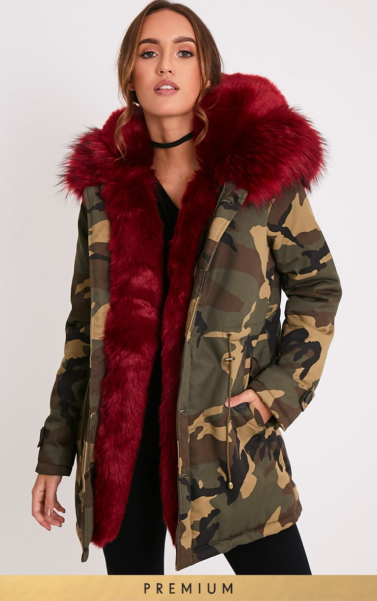 Fliss Red Premium Camo Faux Fur Lined Parka 1