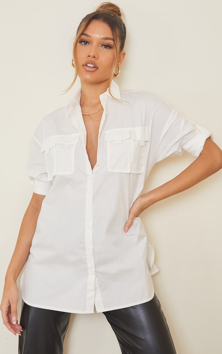 White Woven Oversized Pocket Detail Roll Sleeve Shirt 3
