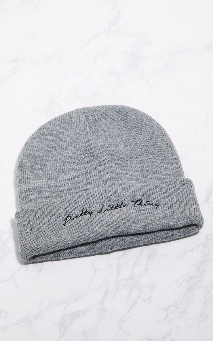 PRETTYLITTLETHING Light Grey Embroidered Beanie 4