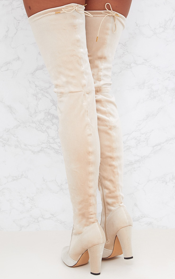 Nude Velvet Thigh High Heeled Boot 4