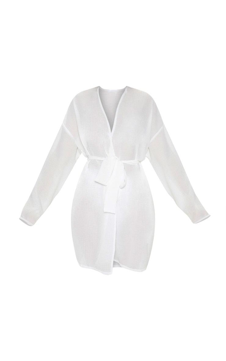White Crinkle Textured Short Beach Kimono 3