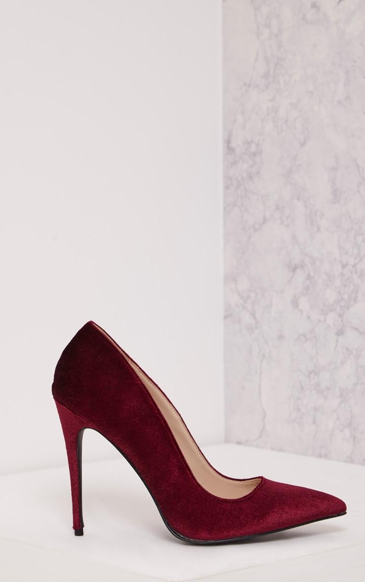Jenessa Plum Velvet Pointed Heels 1
