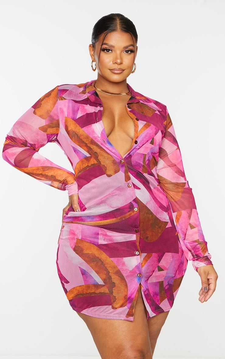 Plus Pink Abstract Mesh Button Down Shirt Dress 3