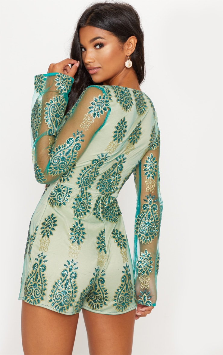 Green Glitter Paisley Flared Sleeve Playsuit 2