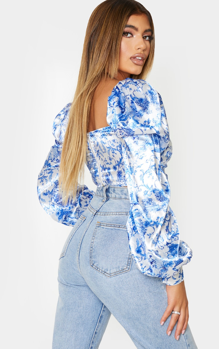 Blue Ornate Print Satin Button Front Square Neck Crop Top 3