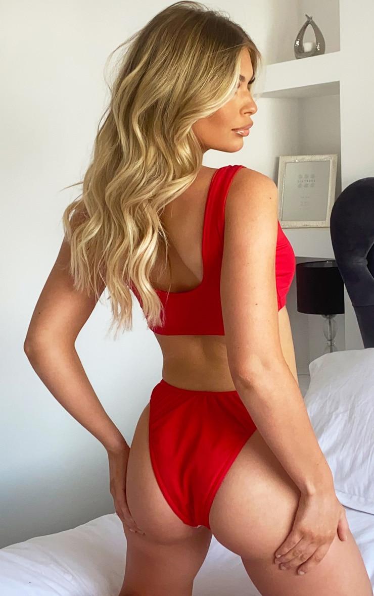 Red Mix & Match Super High Leg Ruched Bikini Bottom 2