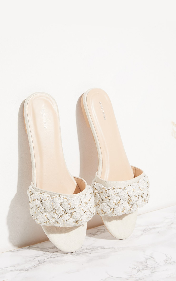 Cream Plaited Strap Mule Sandal 1