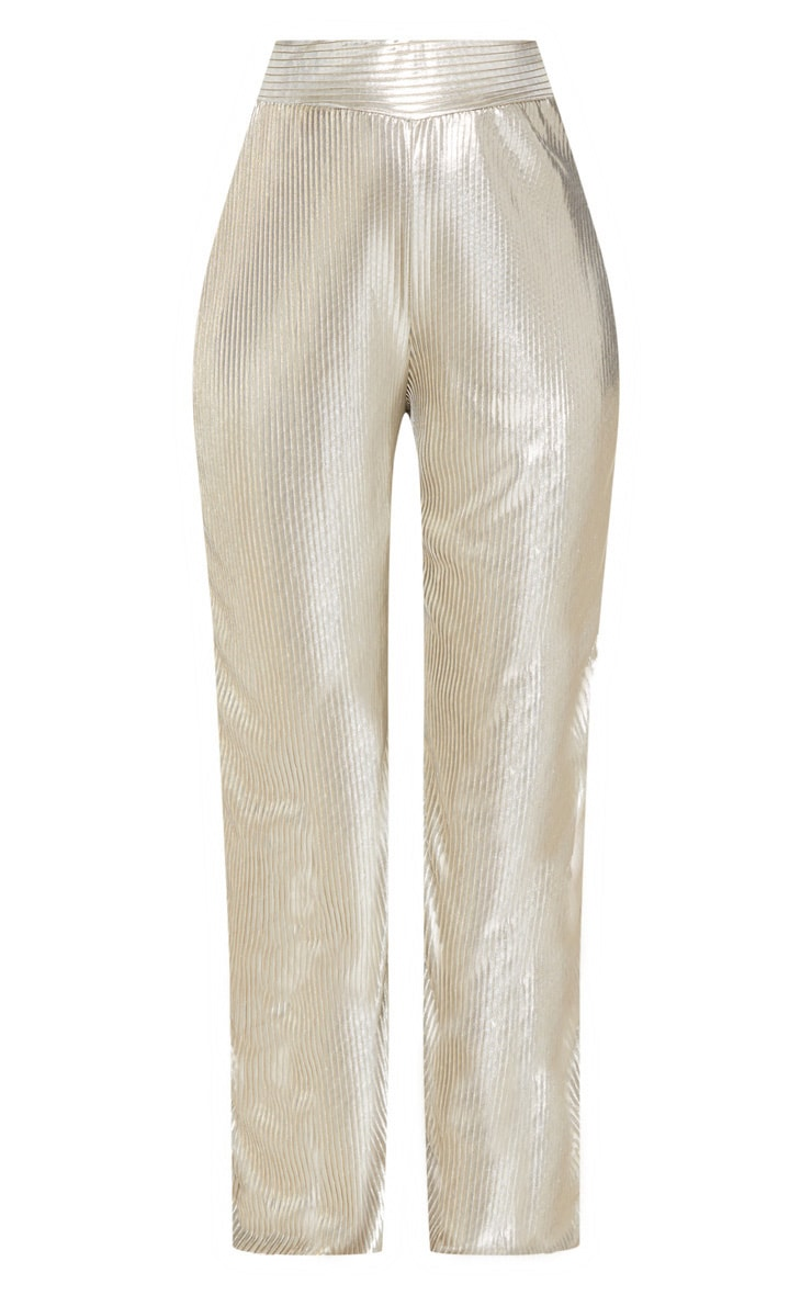 Gold Metallic Pleated Wide Leg Pants 4