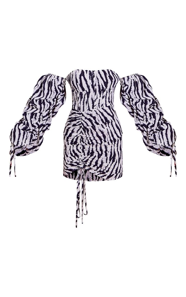 Black Zebra Print Bardot Ruched Corset Detail Bodycon Dress 5