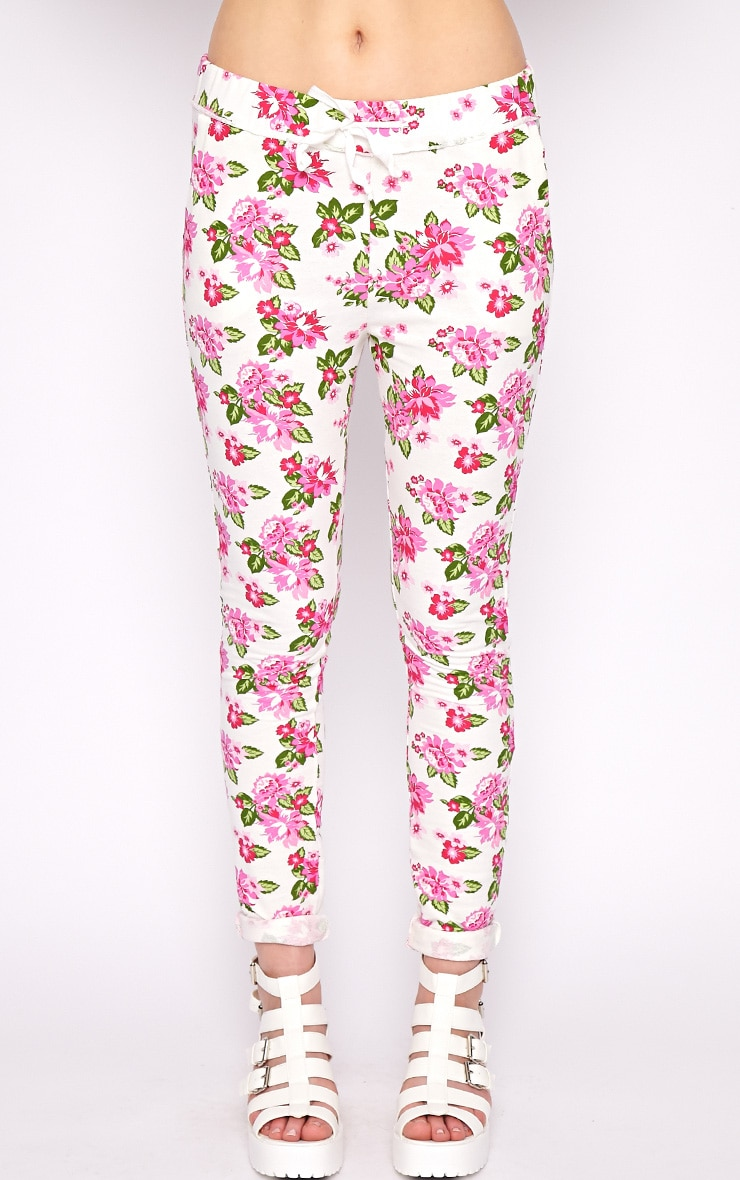 Aria White Floral Sweater Pants 3