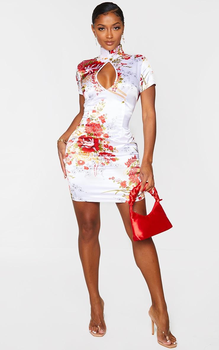 Shape White Floral Print Satin Cut Out Bodycon Dress 1