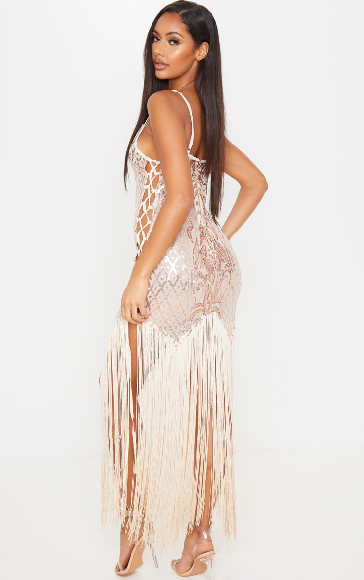 Gold Sequin Lace Up Side Tassel Midi Dress 2